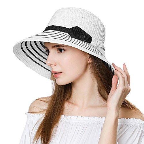 SIGGI Damen Strohhut Breite Krempe Faltbarer Sommerhut mit Kinnriemen UPF 50 Weiß