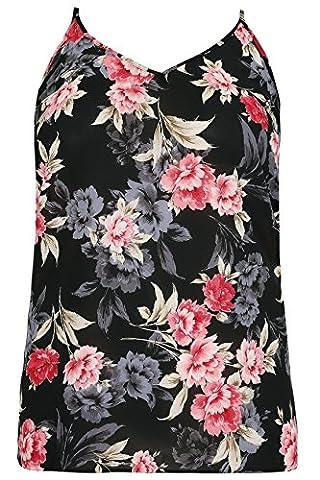 Yours Clothing - Top à manches longues - À Fleurs - Sans Manche - Femme multicolore Multicoloured - multicolore - 60