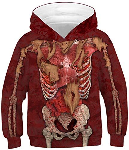 Ocean Plus Jungen Kapuzenpullover Digitaldruck Hoodie Langarmshirt Pullover Sweatshirts mit Kapuze (XS (Körpergröße: 115-120cm), Organe und Skelett) (Skelett Pullover Für Jungen)