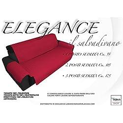 tex family COPRIDIVANO BX SALVADIVANO Elegance ANTIMACCHIA Trapuntato Piano Liscio Bordeaux (2 POSTI Seduta cm. 115)