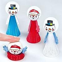 Amici salterini Babbo Natale e pupazzo di neve (confezione da 4)