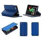 Wiko Rainbow UP 3G Tasche Leder Hülle blau Cover mit Stand