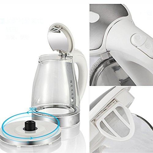 Electric Glass Kettle, Cordless Quiet Boil Blue LED 1.7 L Stainless Steel Kettles 1800W Transparent