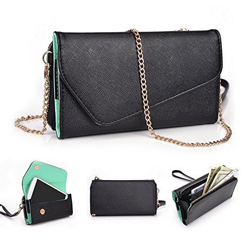 Kroo d'embrayage portefeuille avec dragonne et sangle bandoulière pour Sony Xperia M2 Noir/gris Black and Green