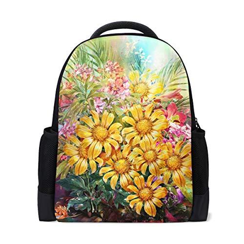 Rucksack Bookbag Daypack Bouquet Daisy Sunflower Leaf wasserdicht für mittlere Reise Mädchen Jungen - Daisy Bouquet Wand
