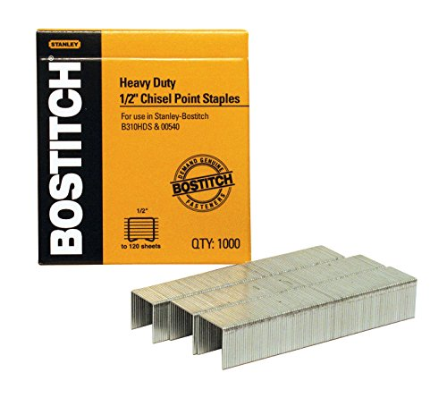 Heavy-Duty Staples, 1/2 Inch Leg, 100 Strip Count, 1,000/Box