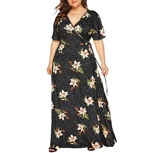Sexy Vintage Kostüm Baseball - iYmitz Damen Übergröße Maxikleid Elegant V-Ausschnitt Kurzarm Kleider mit Blumen Pailletten Abend Party Netzkleid(X4-Schwarz,EU-50/CN-3XL)
