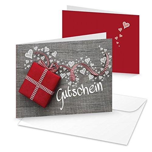 3 Stück grau weiße Geschenk GUTSCHEINE Geschenkgutschein MIT HERZEN rot karierte Schleife Kunden-Gutschein hochwertige Foto-Karten MIT KUVERT Kosmetik Liebe Hochzeit Weihnachten