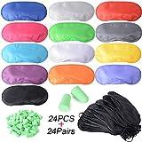 24 Stück Augenmaske + 24 Paar Ohrstöpseln Augenblende Decke Schlafmaske mit Nasenkissen Schlafabdeckung Reise Schlafbrille Schwarz/Mehrfarbig
