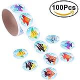 NUOLUX Etiquetas engomadas tropicales coloridas de los pescados para los niños Gran regalo de la recompensa creativa de los favores de partido size 100 Stickers