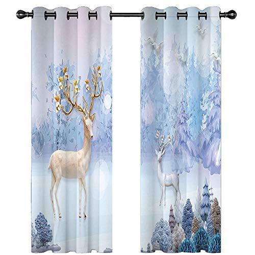 DOORWD 2 Paneles de Cortinas Blackout con Aislamiento Térmico Ciervo Animal Azul 150x166cm Cortinas de Ventana Estampadas con Ojales