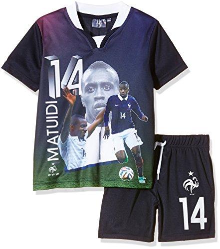 FFF EP1002 Matuidi - Conjunto de 2 piezas con pantalones cortos y camiseta de manga corta para niño, traje, color azul, tamaño FR : 4 ans (Taille Fabricant : 4Y)