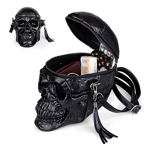 Insone Niet Punk Leder Tasche 3D Schädel Rucksack Metall Rucksack für Teenager mit Mädchen Rucksack Schulrucksack
