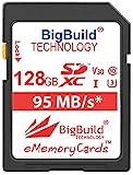 BigBuild Technology 128GB UHS-I U3 95MB/s Speicherkarte für Canon EOS 1200D, 1300D, 2000D, 200D, 4000D, 5DS, 5DS R, 77D, 800D, 80D, 9000D, 5D Mark IV, 6D Mark II, M100, M3, M5, M50, M6, R Kamera