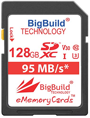 BigBuild Technology 128GB UHS-I U3 95MB/s Speicherkarte für Canon PowerShot SX420 IS, SX430 IS, SX520 HS, SX530 HS, SX540 HS, SX60 HS, SX610 HS, SX620 HS, SX710 HS, SX720 HS, SX730 HS, SX740 HS Kamera - Canon Powershot Speicherkarte