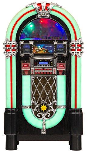 Lacoon GoldenAge XXL-Jukebox mit CD-Player, UKW-Radio, Bluetooth - Retro Musikbox mit LED-Beleuchtung und Holz-Gehäuse - USB-Port, SD-Slot, AUX-Eingang, MP3-Player und Handy-Ablage - Fernbedienung