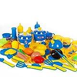 Leisial Set de 46pcs Juguetes de Cocina Plástico Juguete Cortar Tarta de Alimento de Juguete Fruta Cocina Utensilios Estuche de Juego para Niños Bebés