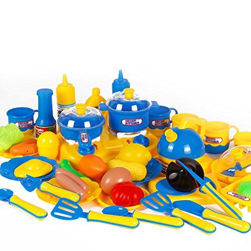 Atommy 46 Pcs Cocina Juguetes Cherche Niños Jugar Inicio Cocina Juegos Niños Cubiertos Cubiertos Conjunto (Azul)