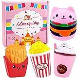 Augshy 4Stück Lebensmittel Squeeze Spielzeug Wie Cat Hamburger Kaffee Tasse Pommes Frites Popcorn Slow Rising Squeeze Kawaii Duft Charms Hand Handgelenk Spielzeug