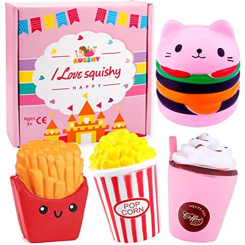 Augshy Quetschspielzeug für Lebensmittel, inkl. Katze, Hamburger Kaffeetasse, Französische Frites,...