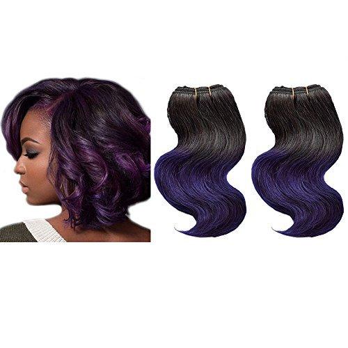 Emmet brasilianische Haar-Verlängerung Ombre Farben-Jungfrau-Haar kann gefärbt werden und permed Körper-Wellen-Haar-Spinnen Einfache Installation u. Nähen 8Inch kurze Größe 100% Menschenhaar-Webart 2Bundles / Los 50g / Bundle(1B#/PURPLE)