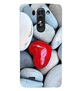ColourCraft Heart in Stones Design Back Case Cover for LG G3 BEAT