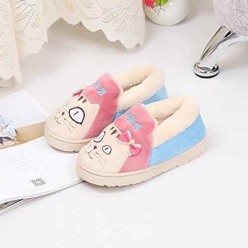 Fankou all-inclusive pantofole di cotone inverno genitore-bambino giovane indoor anti-skid scarpe di cotone cartoon Rose Rot