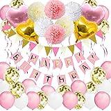 Bandiera di Compleanno per Ragazze, VSTON Palloncini Buon Compleanno Rosa decorazione del partito per bambini Donne Palloncini Laminati a Forma di Palloncino in Lattice Pom pon Fiori 42pcs