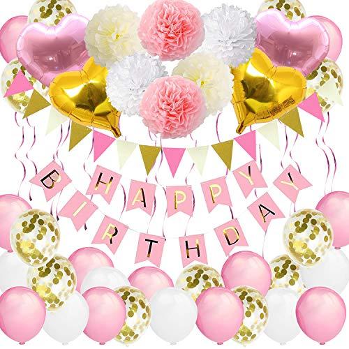 Bandera de cumpleaños para niñas, VSTON Happy Birthday Globos Rosa Fiesta...