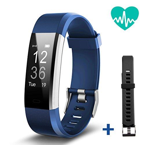 Geekera Fitness-Tracker, Smart Armband mit Herzfrequenzmesser, Bluetooth Smart Watch, Schrittzähler, GPS, Anruf-/SMS-Erinnerung für iPhone X/8/8 Plus/7,Samsung S9/8/Note 8,Huawei Mate 8/P9/P10 (Blau mit schwarzem Band)