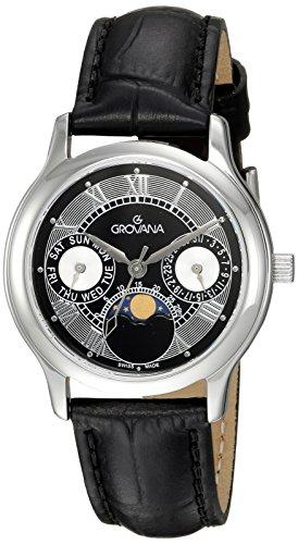 GROVANA 3025,1537 unisex reloj infantil de cuarzo con esfera analógica y negro correa de piel 3025,1537