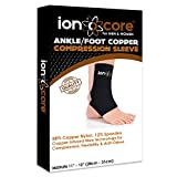 Copper compression ankle support sleeve for ankle, foot and arch support from ionocore®. Relief from plantar fasciitis, ankle pain, Achilles tendon pain and foot pain with open heel. Lightweight, durable and comfortable. (Medium)