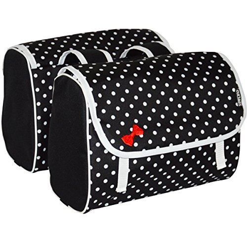 C-BAGS INDYGO double POLKA DOTS Gepäckträger Tasche 2-er Set verschiedene Muster (black-white)
