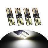 YaaGoo 4PCS T10 LED Ampoules de Voiture, Lampe W5W 194 168 2825 Xénon 6000K 2835 Chipset LED, Lampe de Remplacement à Inversion pour Lumière Dôme Carte Côté Feux de Plaque Immatriculation-12-24V Blanc