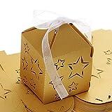 WINOMO 50 Stück Sterne Papier Candy Süßigkeiten Geschenk-Boxen Baby Shower Gefälligkeiten (goldgelb)