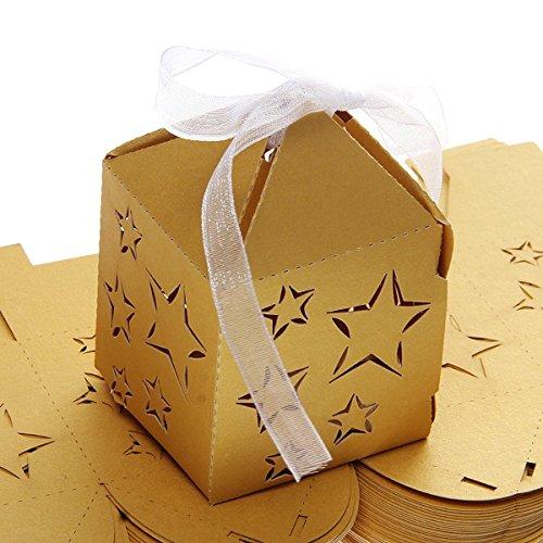 rne Papier Candy Süßigkeiten Geschenk-Boxen Baby Shower Gefälligkeiten (goldgelb) ()