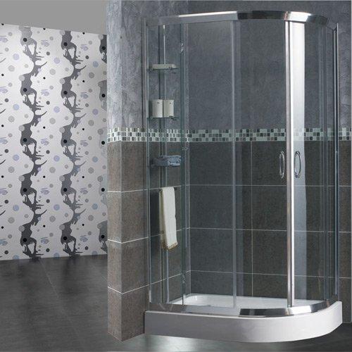 Box de douche en verre trempé 6mm, semi-circulaire 2faces, ouverture centrale coulissante 70x 90cm, hauteur 185cm, transpa