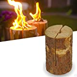 Real Wood Small Party Light Garden Fire Log Candle Torch (Set of 2)