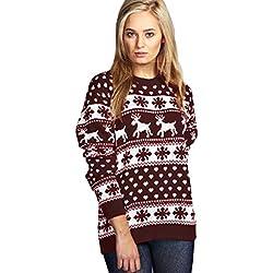 Janisramone Mujeres Señoras Navidad Reno Copo de Nieve Novedad De Punto Unisexo Fairisle Navidad Saltador Suéter Parte Superior
