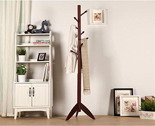 LYM Stehender Huthänger Mantel Hut Rack Holz Stand, Hall Baum mit 7 Haken Display Stand Einfache Montage von Regalen ( Farbe : Braun , größe : 48*175CM )