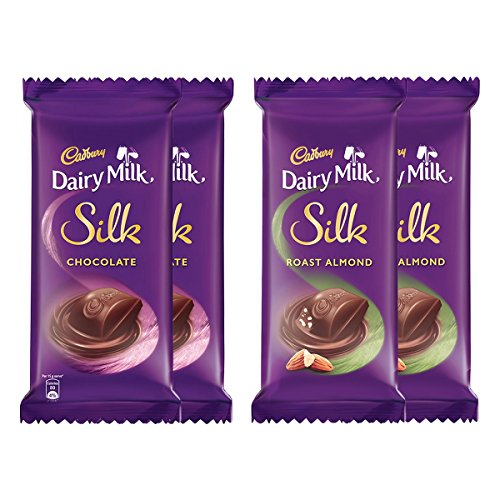 Cadbury Dairy Milk Silk, Pack of 4 (Silk Chocolate Bar, 2x150g, Silk Roast Almond, 2x137g)