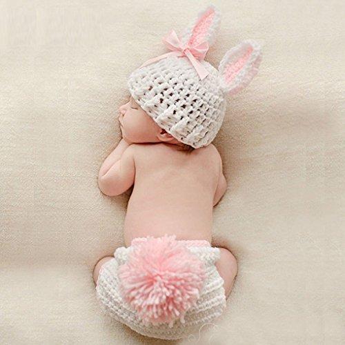 Pegcdu Baby-Kleidung Niedlich häkeln Neugeborene Baby-Foto-Props Kostüm-Baby-Fotografie Props Kaninchen-Blumen-Baby-Outfits Set