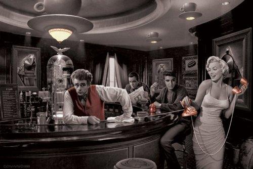 Maxi-Poster, Motiv aus der Hollywood Legends, Marilyn Monroe James Dean Elvis Presley Humphrey Bogart und in eine phantastische Dream 61 x 91.5 cm (Marilyn Elvis Presley Monroe Und)