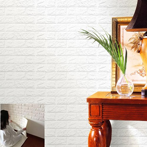 Jaminy Neue PE Foam 3D Tapete DIY Wandaufkleber Wanddekor Geprägte Ziegel Stein (60X60X0,8 cm) (Lila)