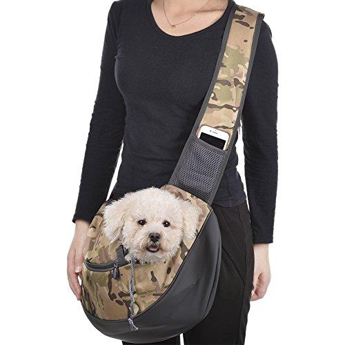 Bolso ligero del transporte de los animales domésticos, bolsas cruzadas del perro Bolso ajustable del paño del viaje del gato ajustable del viaje de Cat con el bolsillo para el teléfono, 28cm * 48cm d