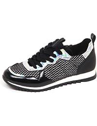 Cult E2494 Sneaker Bimba Tissue Leather Cream Low Scarpe Black Shoe Kid Girl c97c6ac633b
