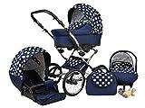 Lux4Kids Margaret Nostalgie Kombikinderwagen (Regenschutz, Moskitonetz, Autositz Adapter) 12 Blau & Große Punkte