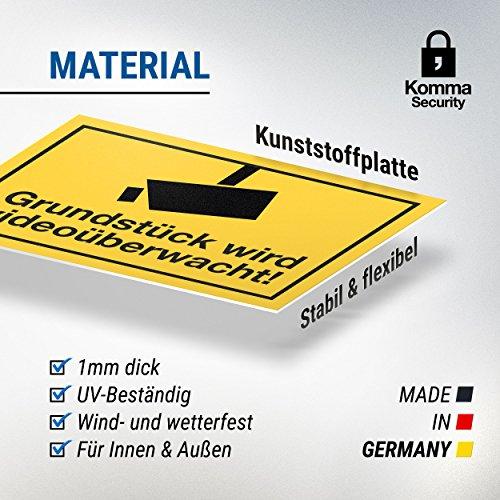 Grundstück Wird Videoüberwacht Schild Infozeichen Gelb 30 X 20cm Hinweisschild Warnhinweis Videoüberwacht Für Einbruchschutz Warnhinweis