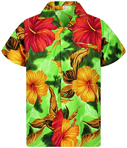 V.H.O. Funky Camisa Hawaiana, BigFlower, Green, M