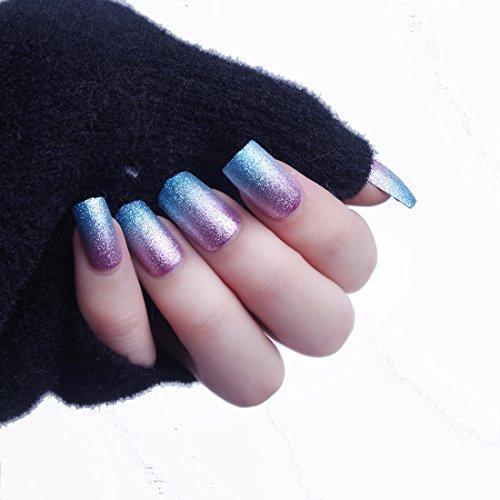 24 pcs 12 Taille Différentes Mermaid Paillettes Gardient Bleu Rose fête Boule Longueur moyenne carré Full Cover Faux ongles avec motif